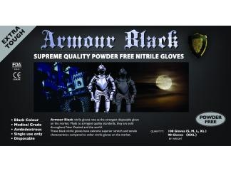 Armour Black Nitrile Disposable Gloves